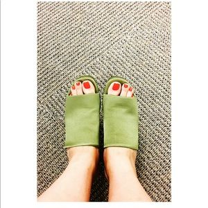 Zara sandals in green silk